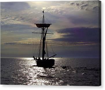 Friends Good Will Tall Ship Silhouette Canvas Print by Richard Gregurich