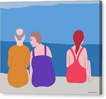Friends On Beach Canvas Print