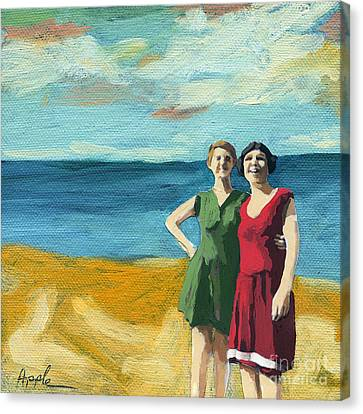 Friends On The Beach Canvas Print by Linda Apple