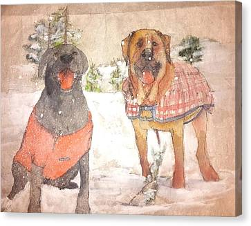 Friends Together Weather Winter Canvas Print