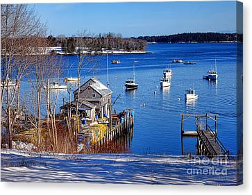 Maine Winter Canvas Print - Friendship Harbor In Winter by Olivier Le Queinec