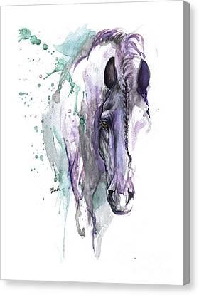 Friesian Horse With Braided Mane Canvas Print by Angel Tarantella