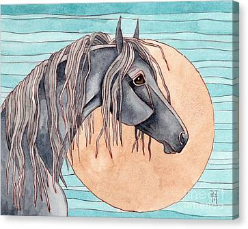 Friesian Over Gold Moon Canvas Print by Suzanne Joyner