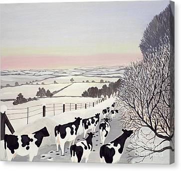 Landscape Canvas Print - Friesians In Winter by Maggie Rowe