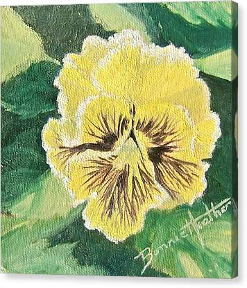 Canvas Print featuring the painting Frilly Yellow Pansy by Bonnie Heather