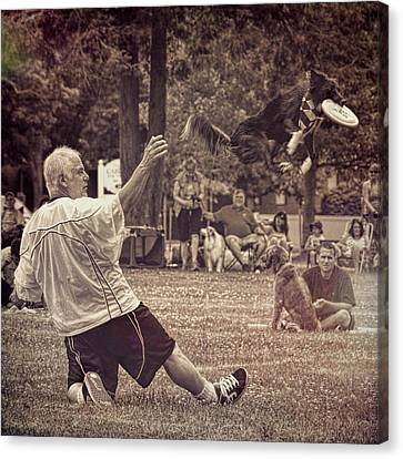 Canvas Print featuring the photograph Frisbee Catcher by Lewis Mann