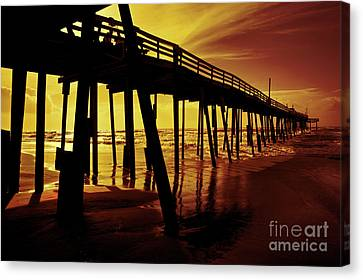 Frisco Pier On Obx At Sunrise Canvas Print