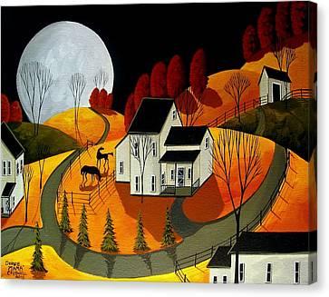 Frisky Autumn Eve - A Folkartmama - Folk Art Canvas Print by Debbie Criswell