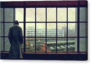 Frits Is Overlooking His Philips Plants In Eindhoven Canvas Print by Nop Briex