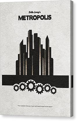 Canvas Print featuring the painting Fritz Lang's Metropolis Alternative Minimalist Movie Poster by Inspirowl Design
