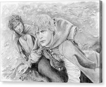 Frodo And Sam In Mordor Canvas Print by Bitten Kari