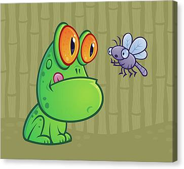 Frog And Dragonfly Canvas Print by John Schwegel