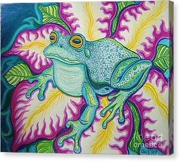 Frog And Flower Canvas Print by Nick Gustafson