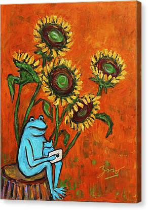 Frog I Padding Amongst Sunflowers Canvas Print by Xueling Zou
