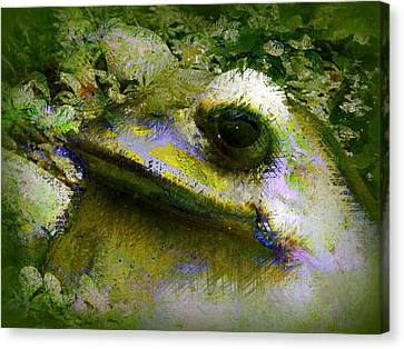 Canvas Print featuring the photograph Frog In The Pond by Lori Seaman