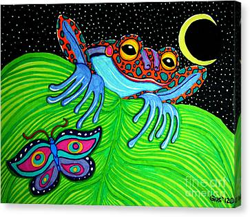 Frog Moon And Butterfly Canvas Print by Nick Gustafson