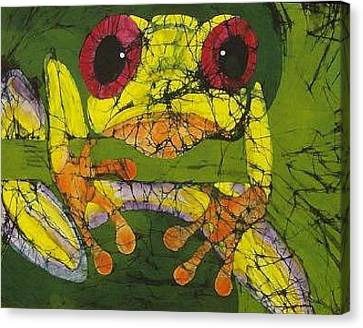 Frog On Ginko Fine Art Batik Canvas Print