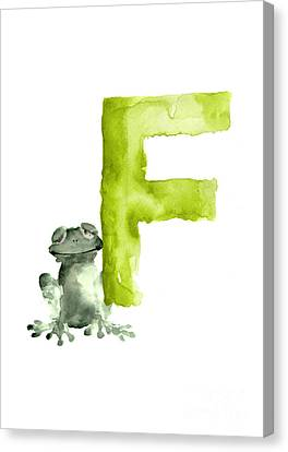 Frog Watercolor Canvas Print - Frog Watercolor Alphabet Painting by Joanna Szmerdt