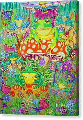 Frogs And Mushrooms Canvas Print by Nick Gustafson