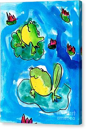 Frog Watercolor Canvas Print - Frogs by Elyse Bobczynski Age Five
