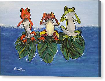 Frogs Without Sense Canvas Print by Debbie Levene
