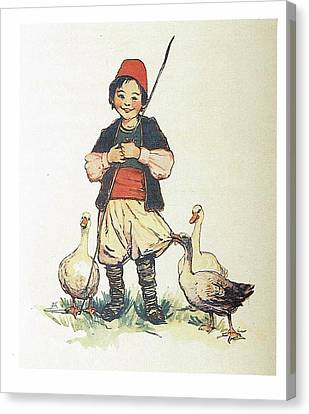 Frolic For Fun Boy And Geese Canvas Print by Reynold Jay