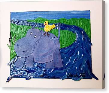 Frolic With Hippo And Bird Canvas Print