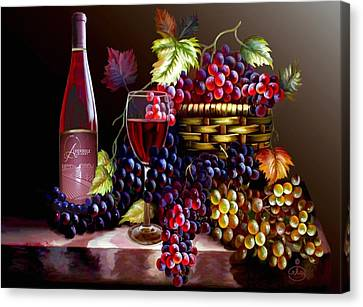 Still Life Of Wine And Grapes Canvas Print - From Grapes To Wine by Ron Chambers