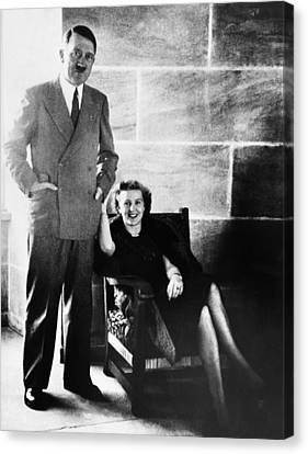 From Left, Adolf Hitler, Eva Braun Canvas Print by Everett