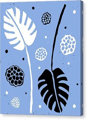 Lino-cut Canvas Print - Fronds - Peri B/w by Kathryn Humphrey