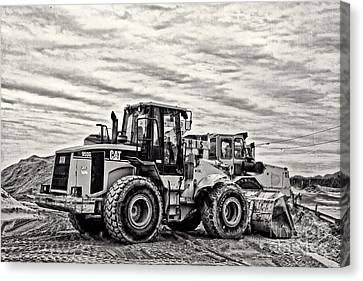 Front End Loader Black And White Canvas Print by Tom Gari Gallery-Three-Photography