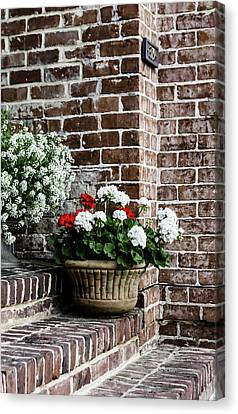 Canvas Print featuring the photograph Front Porch With Flower Pots by Kim Hojnacki