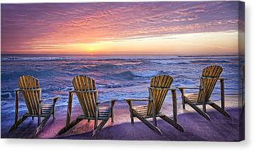 Adirondack Chairs On The Beach Canvas Print - Front Row Seats by Debra and Dave Vanderlaan