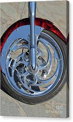 Front Wheel Of Harley-davidson Chopper Canvas Print