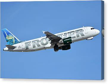 Frontier Airbus A319-214 N210fr Sheldon The Sea Turtle Phoenix Sky Harbor January 21 2016 Canvas Print by Brian Lockett