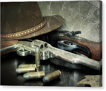 Frontier Lawman Guns Canvas Print by Scott Kingery