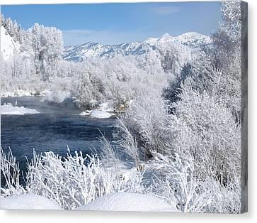 Frost Along The River Canvas Print by DeeLon Merritt