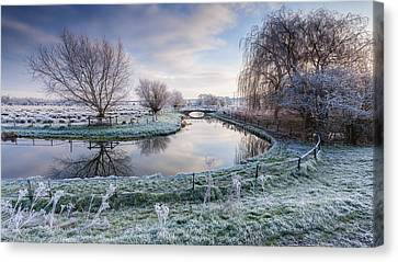 Frost On The Marshes Canvas Print by George Johnson