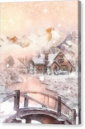 Canvas Print featuring the painting Frosty Creek by Mo T