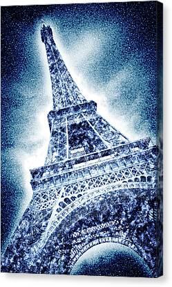 Frosty Eiffeltower In Snow Flurry - Graphic Art Canvas Print by Melanie Viola