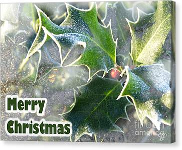 Canvas Print featuring the photograph Frosty Holly by LemonArt Photography