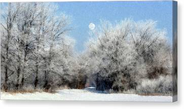 Frosty Moon Trail Canvas Print by John Hix