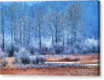 Canvas Print featuring the digital art Frosty Morning At The Marsh Photo Art by Sharon Talson
