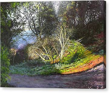 Canvas Print featuring the painting Frosty Morning Near Nant Clwyd by Harry Robertson