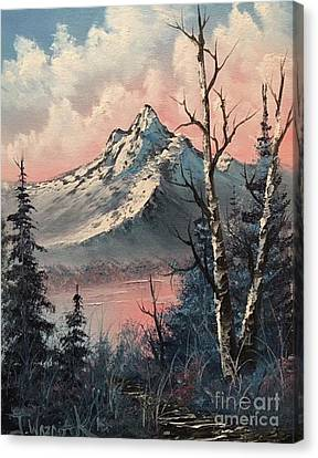 Frosty Mountain  Canvas Print by Paintings by Justin Wozniak
