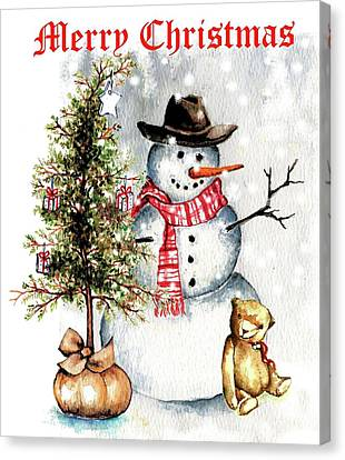 Frosty The Snowman Greeting Card Canvas Print by Heidi Kriel
