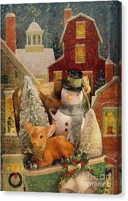 Canvas Print featuring the painting Frosty The Snowman by Mo T