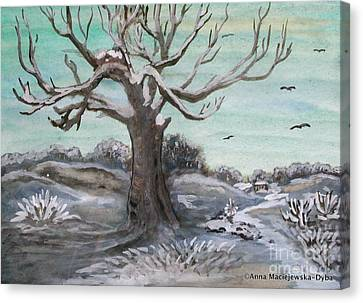 Frosty Winter Day Canvas Print by Anna Folkartanna Maciejewska-Dyba