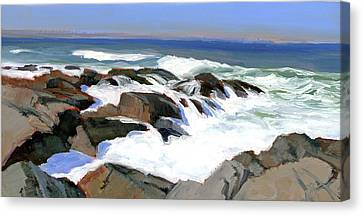 Froth And Foam On The Marginal Way Canvas Print by Mary Byrom