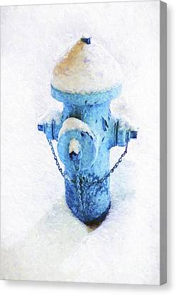 Frozen Blue Fire Hydrant Canvas Print by Andee Design